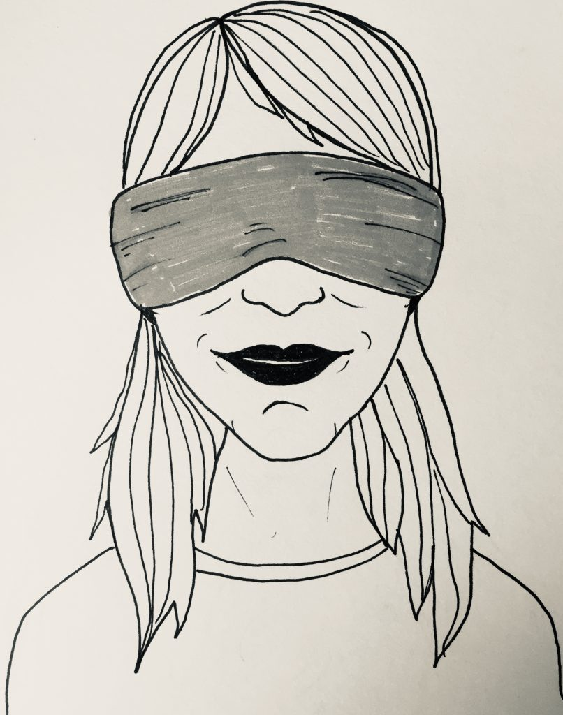 Blindfolded cartoon woman from Totnes